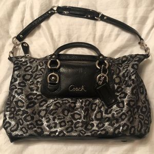 Coach Metallic Audrey Ocelot Jacquard Purse Gray